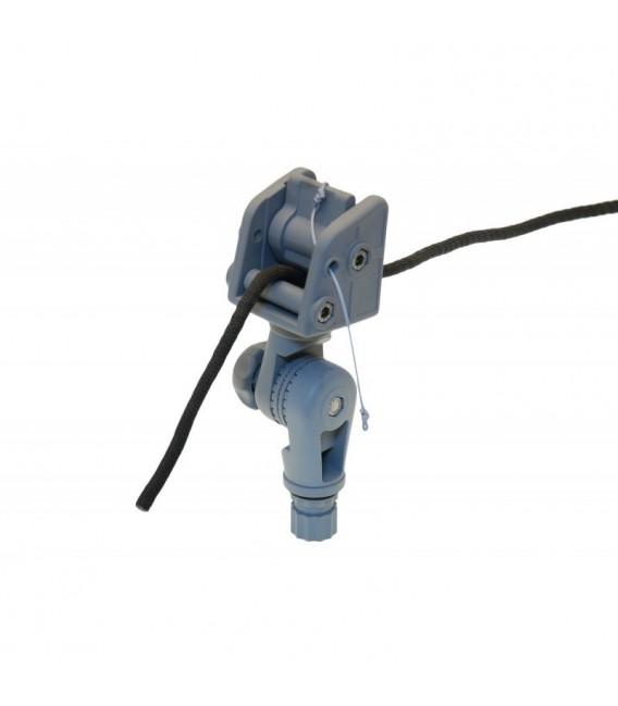 Inkaro virvės fiksavimo mazgas su sukamuoju mechanizmu