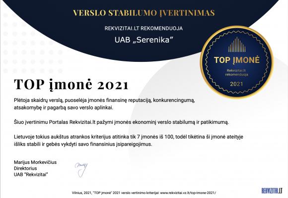"""UAB """"Serenika"""" TOP Lietuvos įmonė  2021"""